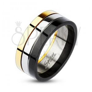 Lesklý tříbarevný prsten z oceli