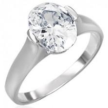 Snubní prsten s čirým velikým oválným zirkonem