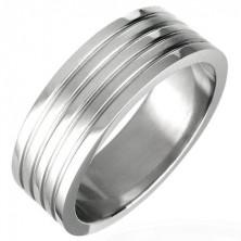 Prsten z chirurgické oceli se čtyřmi rýhami, matný