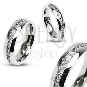 Ocelový prsten - symbol večnosti, zirkony