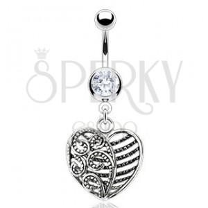 Ocelový piercing do pupíku - srdíčko s ornamenty