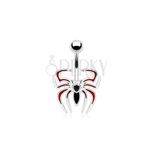 Piercing do pupíku - černo-červený pavouk
