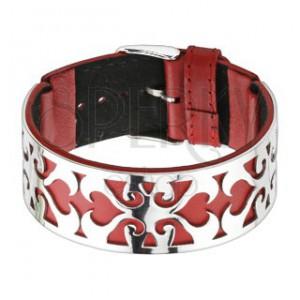 Červeno-stříbrný náramek, vysekaný ornament