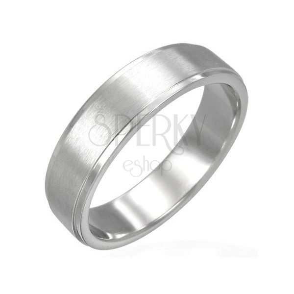 Prsten z chirurgické oceli, podélný matný pás