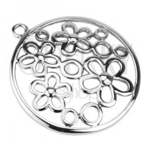 Přívěsek z oceli - vyřezávaný, květy a kruhy