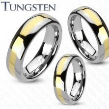 Wolframový prsten - zlatý proužek
