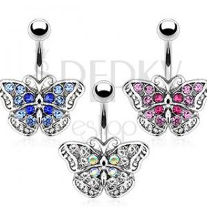 Piercing do pupíku - zirkonový motýlek