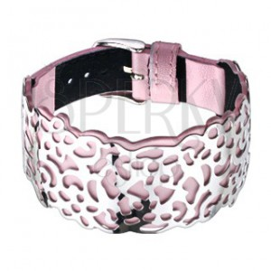 Růžový kožený náramek, vyřezávaná ocelová ozdoba