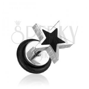 Fake plug hvězda - černá a stříbrná barva