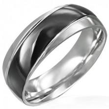 Prsten černostříbrný se šikmým černým pásem