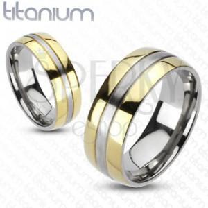 Titanový prsten - zlatá a stříbrná barevná kombinace
