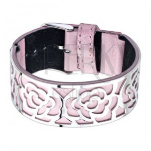 Růžový náramek s ocelovou ozdobou, výseky - růže