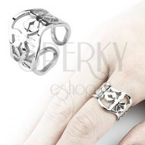 Vlnitý ocelový prsten s kvítky