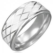 Prsten z oceli kosočtevrce, broušený povrch