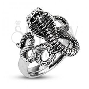 Patinovaný ocelový prsten - zuřivá kobra