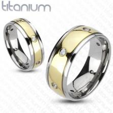 Dvoubarevný titanový prsten - šest zirkonů