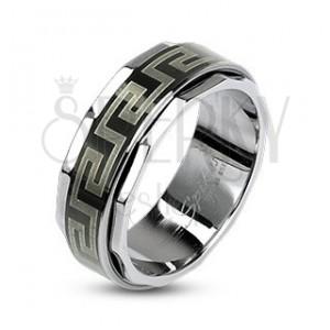 Prsten z oceli s otáčivým středem v řeckém stylu