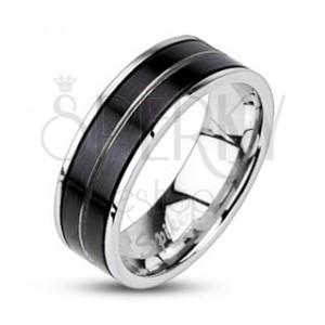 Prsten z chirurgické oceli - černá barva, vygravírovaná linie