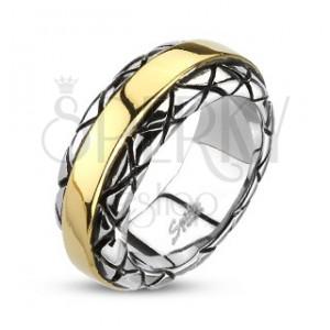 Prsten z oceli - pozlacený střed, vzorované okraje