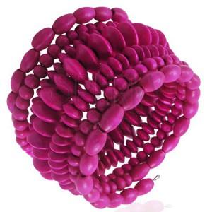Dřevěný spirálový korálkový náramek - růžový