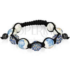 Modrý shamballa náramek - šňůrka, růže a zirkony