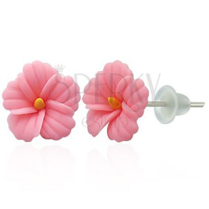 FIMO náušnice - růžová sedmikráska