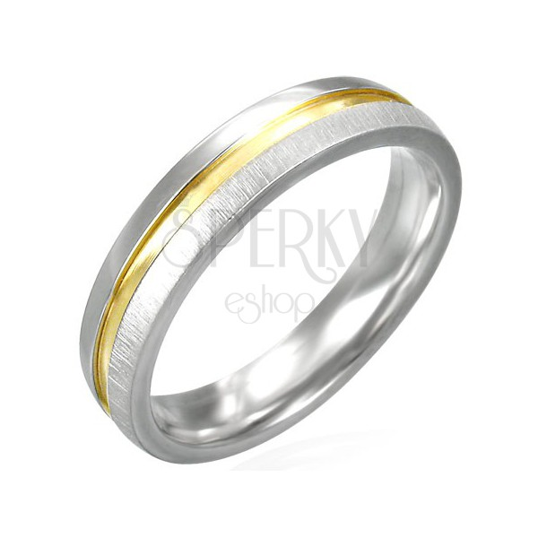 Ocelový prsten matný se zlatým, lesklým středem