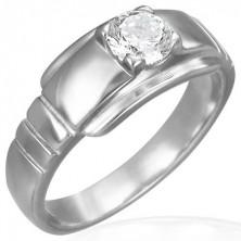 Zásnubní prsten z chirurgické oceli s očkem na širším podkladu