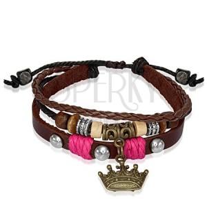 Kožený náramek s korálky, královská koruna - růžová šňůrka