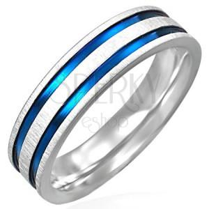 Ocelový prsten matný s dvěma modro-fialovými pásy