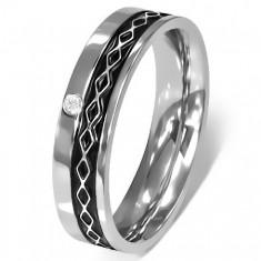 Prsten z chirurgické oceli - Keltský design, čirý zirkon K11.6