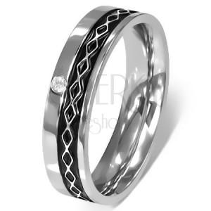 Prsten z chirurgické oceli - Keltský design, čirý zirkon