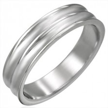 Prsten ocelový široký s dvěma žlábky