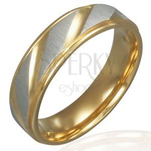 Prsten z oceli - zlato-stříbrný, diagonální rýhování