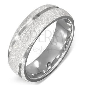 Prsten z oceli - pískovaný s lesklými liniemi