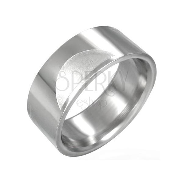 Ocelový prsten hladký s matnými půlkruhy