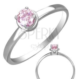Prsten z oceli se vsazeným růžovým očkem