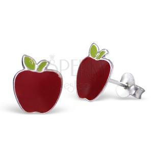 Stříbrné náušnice 925 - červené jablko