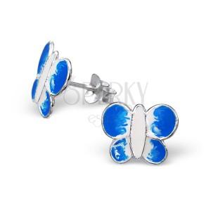 Stříbrné náušnice 925 - motýl, modrobílý
