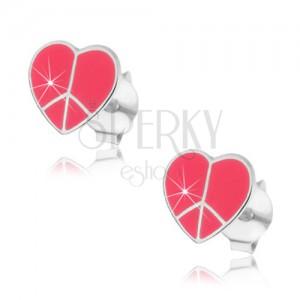Stříbrné náušnice 925 - srdíčko Peace, růžové