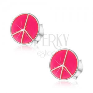 Stříbrné náušnice 925 - růžový kruh Peace