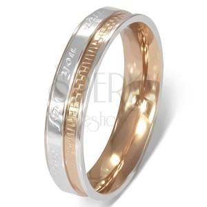 Prsten z chirurgické oceli - romantický nápis, dvoubarevný
