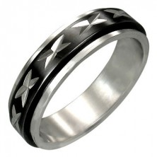 Ocelový prsten s otáčivým černým středovým pásem