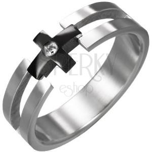 Prsten z oceli - černý kříž, čirý zirkon