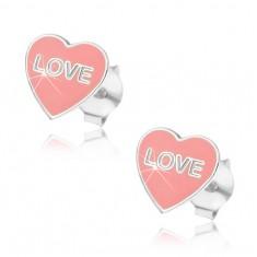 Stříbrné náušnice 925 - růžové srdce Love AB21.06