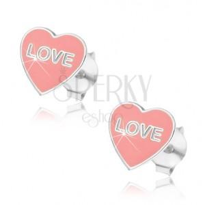 Stříbrné náušnice 925 - růžové srdce Love