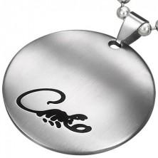 Kruhový přívěsek z chirurgické oceli stříbrné barvy s černým štírem