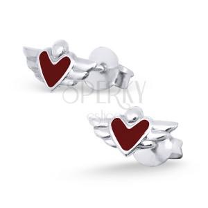 Stříbrné náušničky 925 - srdce s křídly