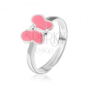 Dětský prsten stříbro 925 - růžový motýlek