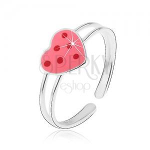 Stříbrný prstýnek 925 - růžové glazované srdce s červenými tečkami